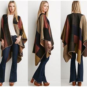 FOREVER 21 Block Patterned Shawl Poncho Blanket